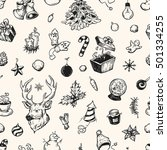 hand drawn winter pattern.... | Shutterstock .eps vector #501334255