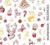 hand drawn winter pattern.... | Shutterstock .eps vector #501334261