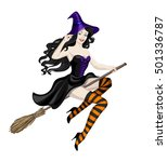 beautiful witch flying on... | Shutterstock . vector #501336787