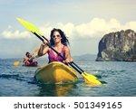 kayaking tropical vacation trip ... | Shutterstock . vector #501349165