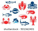 Seafood Icon Set With Fish And...