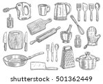 kitchen utensils and appliances ... | Shutterstock .eps vector #501362449