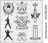 set of cricket sports symbols ... | Shutterstock .eps vector #501382681