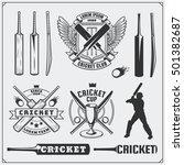 set of cricket sports symbols ... | Shutterstock .eps vector #501382687