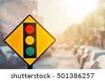 traffic light warning sign on... | Shutterstock . vector #501386257