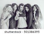 fashion girls make selfie....   Shutterstock . vector #501386395