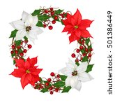 christmas wreath  flower... | Shutterstock . vector #501386449