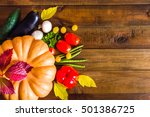autumn vegetables. on a wooden... | Shutterstock . vector #501386725