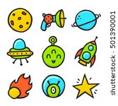 cartoon ufo emotions emoji... | Shutterstock .eps vector #501390001