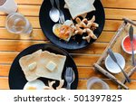 homemade breakfast. fried egg ... | Shutterstock . vector #501397825