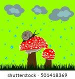 Mushroom Family Snail Vector...