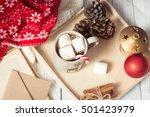 christmas mood. cozy christmas... | Shutterstock . vector #501423979