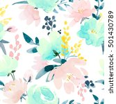 watercolor floral pattern ... | Shutterstock . vector #501430789