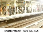 blur focus of people wait train ... | Shutterstock . vector #501433465