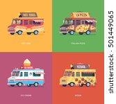 set of flat food truck...   Shutterstock .eps vector #501449065
