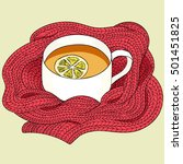 Stock vector tea with lemon wrapped in a red scarf tea sketch hand drawing tea cup vector illustration tea 501451825