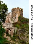 Small photo of Majestic medieval castle Haut-Ribeaupierre on the top of the hill, Alsace, France