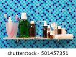 shelf in a bathroom with... | Shutterstock . vector #501457351