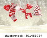 red knitted christmas stocking... | Shutterstock .eps vector #501459739