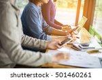 business team working on laptop ... | Shutterstock . vector #501460261