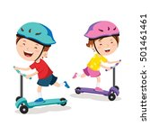 kids learn to ride scooter | Shutterstock .eps vector #501461461