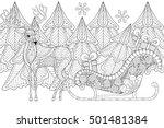 reindeer with sledges of santa... | Shutterstock .eps vector #501481384
