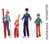 full length family portrait of... | Shutterstock .eps vector #501483739