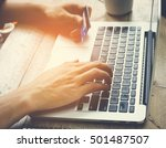 man hand holding credit card... | Shutterstock . vector #501487507
