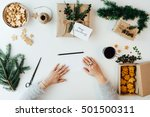 woman holding blank paper for...   Shutterstock . vector #501500311