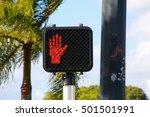 Illuminated Red Stop Don't Wal...