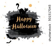 happy halloween text banner | Shutterstock .eps vector #501517045