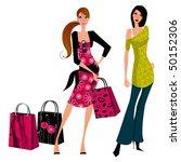 Vector Shopping Girls