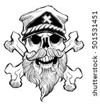 skull with beard  cross bones... | Shutterstock .eps vector #501531451