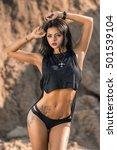 model in black bikini posing on ... | Shutterstock . vector #501539104