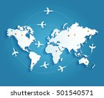airplanes trajectories on world ... | Shutterstock .eps vector #501540571