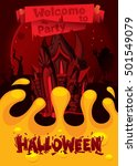 happy halloween poster. welcome ... | Shutterstock .eps vector #501549079