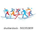 cross country ski race. a... | Shutterstock .eps vector #501552859