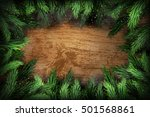 christmas pine wreath on wooden ... | Shutterstock .eps vector #501568861
