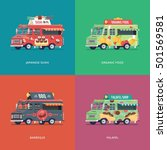 set of flat food truck... | Shutterstock .eps vector #501569581