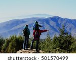 family with little child hiking ... | Shutterstock . vector #501570499