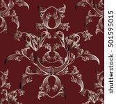 modern dark red floral baroque... | Shutterstock .eps vector #501595015