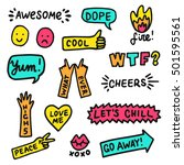 set of stickers  pins  patches... | Shutterstock .eps vector #501595561