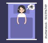 insomnia conceptual... | Shutterstock .eps vector #501596749