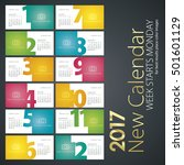 new calendar 2017 colorful... | Shutterstock .eps vector #501601129