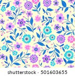 seamless pattern with flowers...   Shutterstock .eps vector #501603655