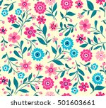 seamless pattern with flowers... | Shutterstock .eps vector #501603661