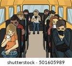 everybody in the bus looking...   Shutterstock .eps vector #501605989