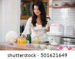 beautiful woman decorator... | Shutterstock . vector #501621649