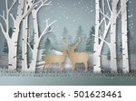 deer in forest with snow in... | Shutterstock .eps vector #501623461
