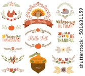 autumn and thanksgiving set... | Shutterstock .eps vector #501631159